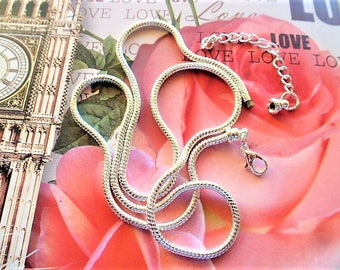 Snake chain silver 60 cm for necklaces with beads pandora 3 mm in diameter for creations of jewels