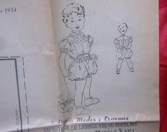 Romper pattern 1/3 years old - fashion and work - 1954 - france