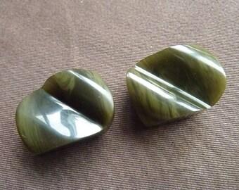 2 oval buttons in khaki green bakelite * 3 cm * France 1940