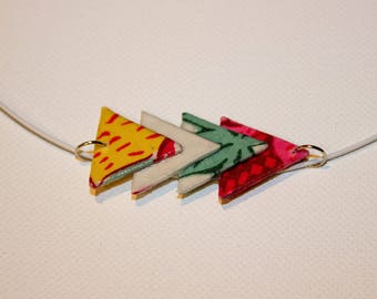 Quartet of pastel triangles fabric pendant