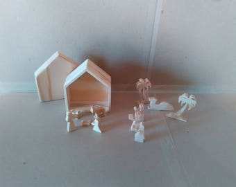 Christmas decoration: Mini Nativity scene wood