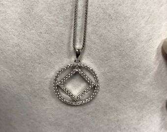 NA Sterling Silver Pendant with CZ and Necklace 20 mm diameter