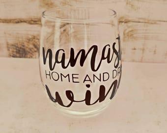 Namaste Home and Drink Wine Stemless Wine Glass