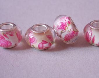 ❥ Perle Charm pink acrylic and silver metal