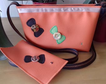 Small orange shoulder bag and eyeglass or Sunglass case