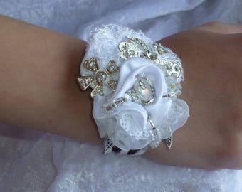 White, very stunning bridal Cuff Bracelet-sewn rhinestones and pearls