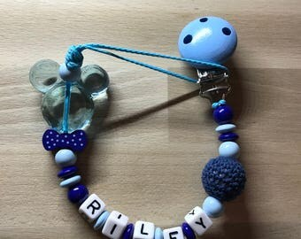 Pacifier clip personalized mickeyRiley
