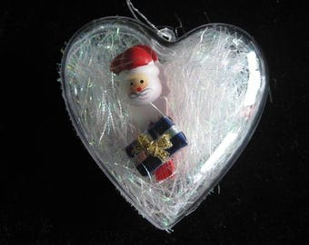 """Heart ball childhood memory """"Santa Claus with his blue gift"""" size 55mm"""