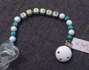 Pacifier clip / pacifier special custom wooden boy version dots
