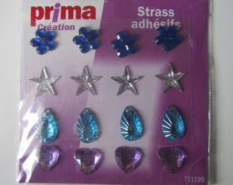 Set of 16 rhinestones adhesives of colors and shapes