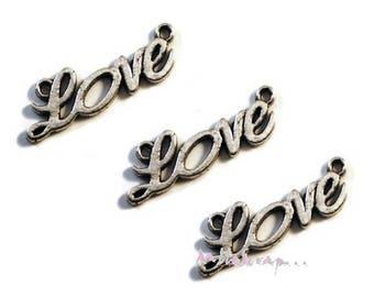 """Set of 3 charms """"LOVE"""" embellishments scrapbooking card making *."""