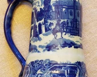 "Stunning Vintage Victoria ""Ironstone"" Blue and White Ceramic Mug"