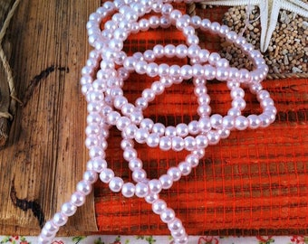 30 small round beads, pale pink pearl, 4 mm in diameter