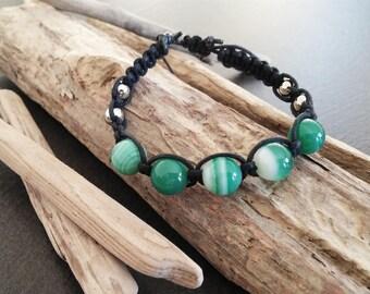 Braided genuine Green agate mala bracelet