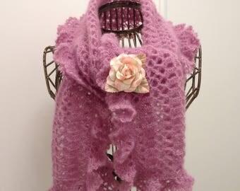 Rosewood scarf in mohair/silk yarn