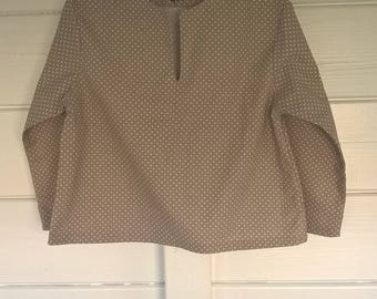 Coat child girl, taupe and white polka dots