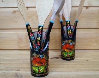 Cutlery Set Wood, Hippie Gift For Women, Petrykivka Painting, Ukrainian  Gift Wooden Spatula