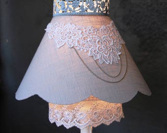 Light gray linen cloud and white lace