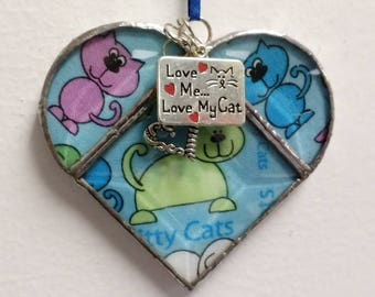 Stained Glass Heart Kitty Cat ~ Two-Sided ~ 3.5  Inches with Love My Cat and Heart Charms