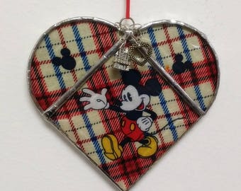 Stained Glass Heart Mickey Mouse ~ Two-Sided ~ Large 5.5  Inches with Castle and Heart Charms