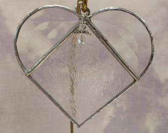 Stained Glass, APRIL Birthstone, Birthstone Heart, Diamond, Clear, Heart, Stained Glass Suncatcher, Handmade in USA, Sun Catcher