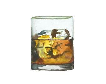 Bourbon/Whiskey Watercolor Print