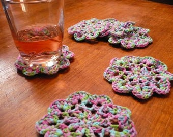 set of six small coasters made with multicolored cotton crochet
