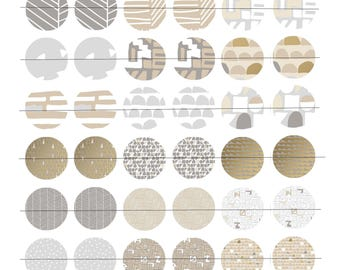 "Digital Board 48 images for cabochons 25mm (1 inch), theme ""Golden Doodles 2"""