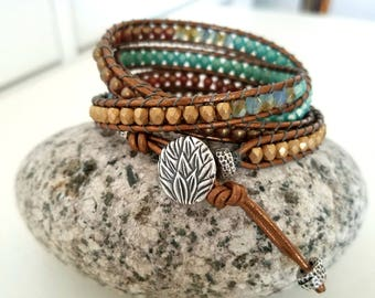 Still Waters Run Deep Beaded 4x Wrap Bracelet w/ Lotus Button