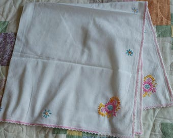 Medium White Tablecloth with Pastel Floral Embroidery Detail
