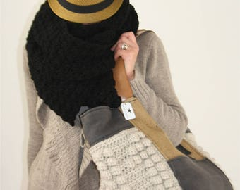 * LARGE BLACK SCARF * * CROCHET * * SOFT * * WRAP *.