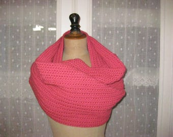 Scarf color XXL crocheted hot pink