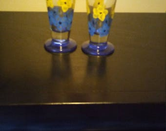 Painted glass cup set