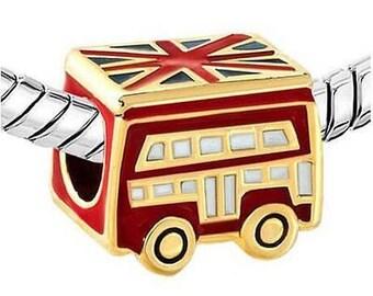 """London Double Decker Bus Charm Bead for European Charm Bracelet """"BeadsandCharmsStore"""""""
