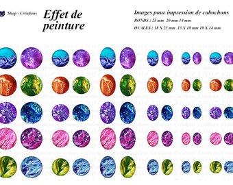 Paint effect 60 cabochons printable images