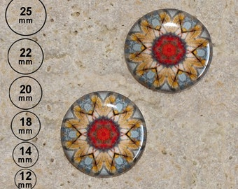 2 round cabochon 20 mm resin kaleidoscope print is available in 25, 22, 18, 14, 12 mm