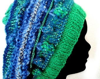 Hand knitted blue green wool hat