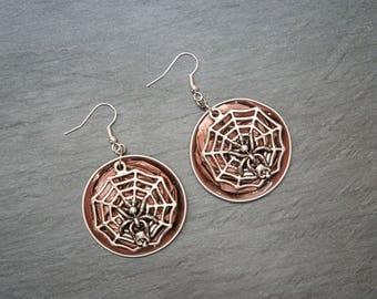 Upcycled earrings ' capsule coffee - Spider!