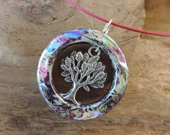 Necklace and pendant, Choker the raspberry pink steel tree of life Tibetan Silver Pendant with silver and Pearl