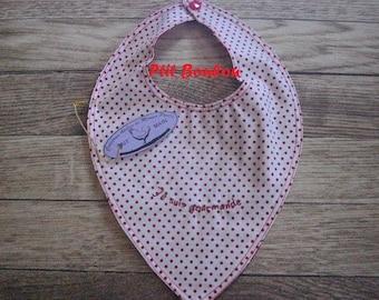 BB, red and white polka dots (B9) bandana bib