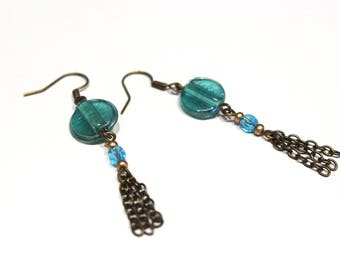 Transparent blue glass bead earrings