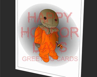 Trick r Treat Sam, Halloween. Collectable Horror Movie- Greeting card.