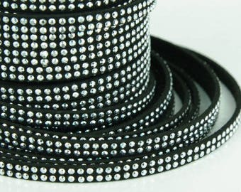 25 cm Black Suede cord with double row of rhinestones