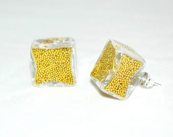 Earrings bubbles of glass - golden yellow Pearlescent Inclusion