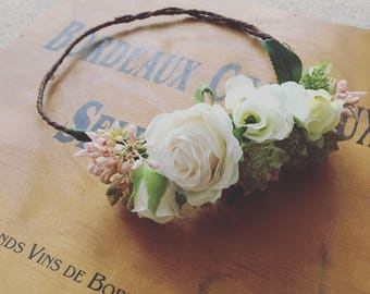 "Bridal Flower Crown ""Touch of Pink"""