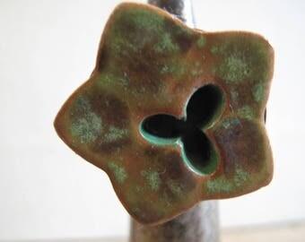 "Wood and ceramic ""Bayou"" ring"