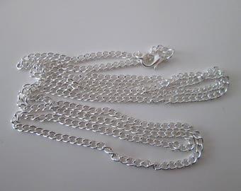 80 cm sautoir collier chaîne maillon gourmette 4 x 3 mm en métal argenté clair