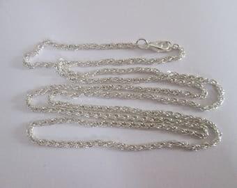 80 cm sautoir collier chaîne torsade en métal argenté