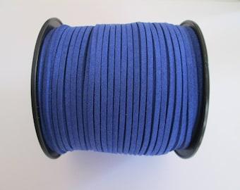 1 mètre cordon plat suédine largeur 2.5 mm couleur : bleu roi