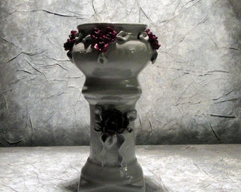 Gray and plum pink vase